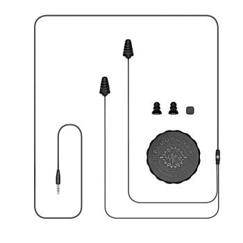 "Plugfones PG-BB Guardian Earplug-Earbud Hybrid Plugphones, Black ~ 54"" Cord"