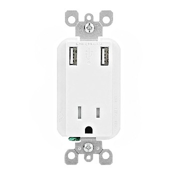 Combo Receptacle & USB Charger Ports ~ White