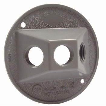 Round Cluster Cover, Weather Proof Three Hole Gray