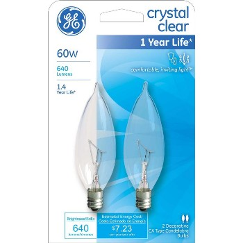 Bent Tip CA10 Decorative Bulb - 60 watt ~ Clear