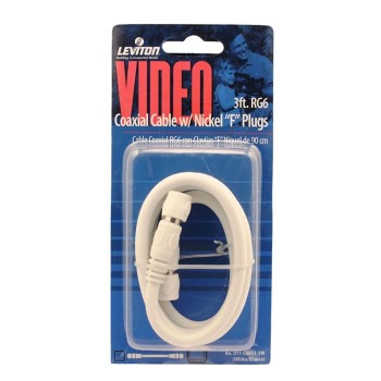 RG6 Coax Cable & F Plug,  White ~ 3 Ft