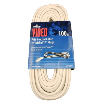 RG6 Coax Cable & F Plug, White ~ 100 Ft