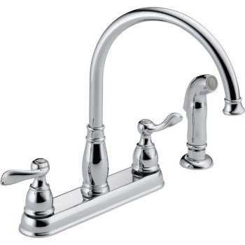 "Windemere Design Two Handle Kitchen Faucet,  Chrome ~ 8"" Ctr"