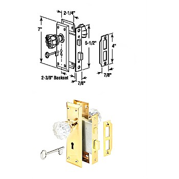 Mortise Lock Set Assembly ~ Glass Knobs