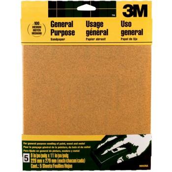 3M 051144090020 Aluminum Oxide Sandpaper, Medium Grit ~ 9 x 11 inches