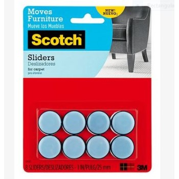 3M SP643 Furniture Sliders, 8 pk ~ 1in.