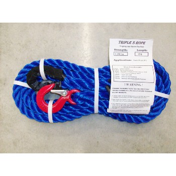 "Polypropylene Loop x Hook Tow Rope, 5,250 Lb ~ 5/8"" x 15 Ft."