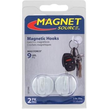 """Master Magnetics 07290 Magnetic Hooks,  White ~ 1"""" D x 1/2"""" P"""