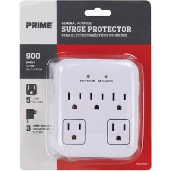 General Purpose 5 Outlet Wall Tap Surge Protector