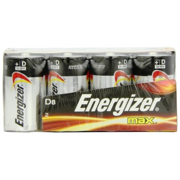 Energizer E95FP-8 Alkaline Battery, D Cell ~ Pack of 8