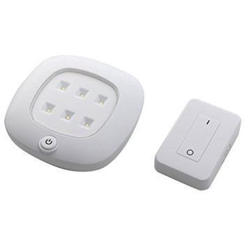 "Wireesss RC Ceiling Light Set w/Remote Control, White ~ 5.75"" Sq. x 1.75"" D"