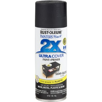 Rust-Oleum 249061 Painters Touch Ultra Cover 2X Spray, Black Semi-Gloss ~ 12 oz