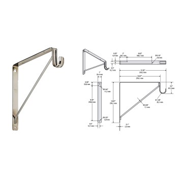 Shelf and Rod Bracket #108BC,  Chrome Finish