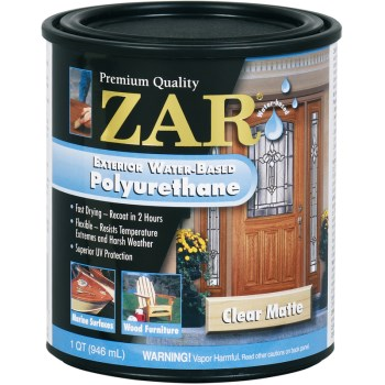 Buy the ugl 34912 zar exterior water based polyurethane matte finish quart hardware world for Exterior polyurethane wood finish