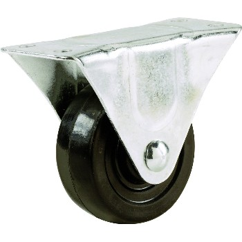 Rigid Caster,  Rubber Wheel ~ 4""