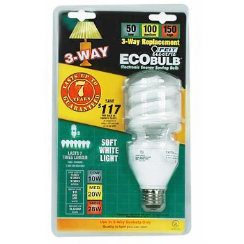 Compact Fluorescent Light Bulb, 3-Way Twist 50 Watt