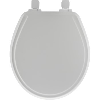 Toilet Seat, Round Molded Wood ~ White
