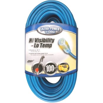 Coleman Cable 02469 Indoor/Outdoor 14/3 Extension Cord, Blue ~ 100 Ft
