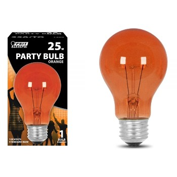 Party Light Bulb, Orange ~  120 Volt 25 Watt
