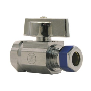 "1/4 Turn Ball Valve, Straight Stop ~ 1/2"" IP x 3/8"" OD x 1/4"" T"