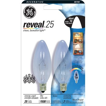 Blunt Tip Bulb, Reveal 25 watt