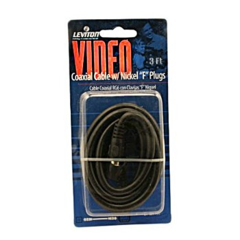 RG6 Coax Cable & F Plug, Black  ~ 3 Ft