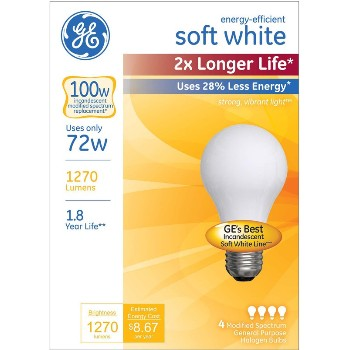 Energy Efficient Halogen Bulb - 72 watt/100 watt