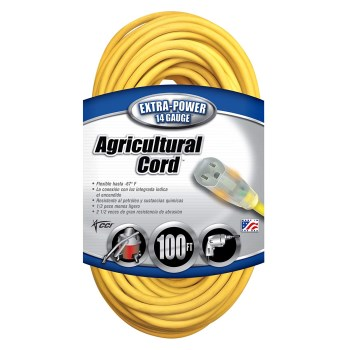 Coleman Cable 01459 Agricultural Grade Outdoor Extension Cord, Yellow ~ 100 feet