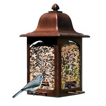 Woodstream 367 Bird Feeder~Tulip Garden Lantern, Rustic Brown