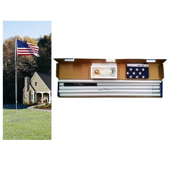 Flag Pole Kit w/20' Aluminum Pole + US Flag