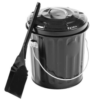 Gray Metal Prods BAP-KIT Ash Pail Container w/ Shovel ~ Black