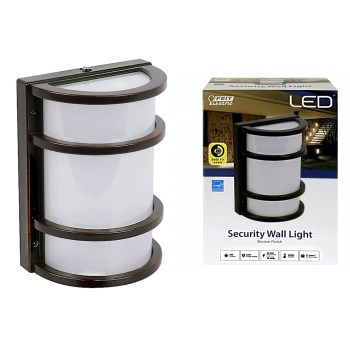 Dusk-to-Dawn LED Wall Security Light,  Bronze Finish