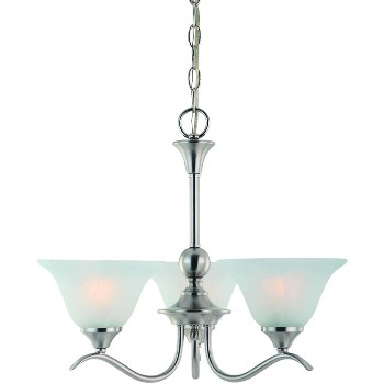 3 Light Chandelier, Satin Nickel