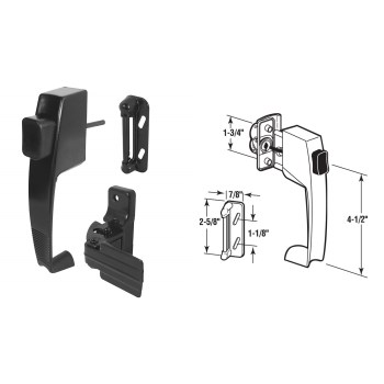 Push Button Storm Door Latch,  Black
