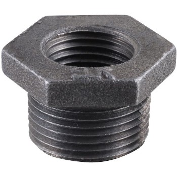 "Malleable Hex Bushing, Black ~ 1/4"" x 1/8"""