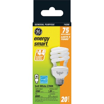 Compact Fluorescent, Soft White 20 Watt