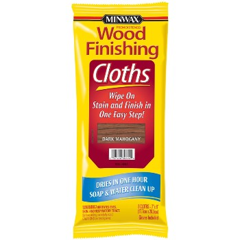 Mahogany Stain Finishing Cloths ~ 8 Cloths Per Package