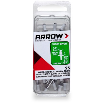 Rivets - White Short Aluminum - 1/8 inch