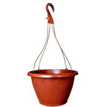 "Resin Hanging Basket,  Terra Cotta ~ Approx 12"" D x 7.1"" H"