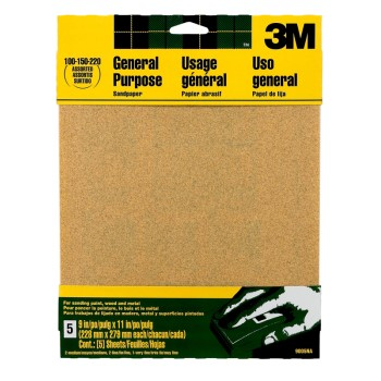 3M 051144090051 Aluminum Oxide Sandpaper, Assorted Grits ~ 9 x 11 inches