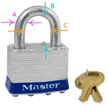 Master Padlock, Laminated Steel Pin tumbler ~ Key  # 2402