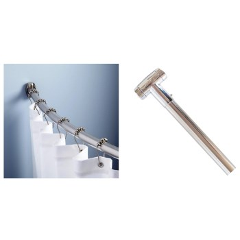 Curved Shower Rod, Adjustable ~ Chrome Finish
