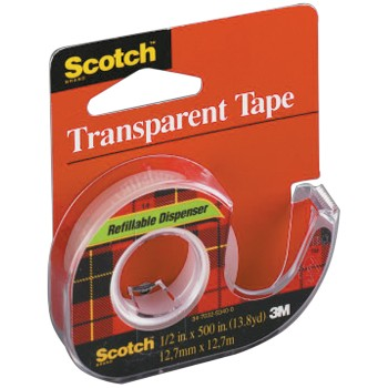 3M 02120001030 Scotch Tape - Clear - 0.5 x 450 inch