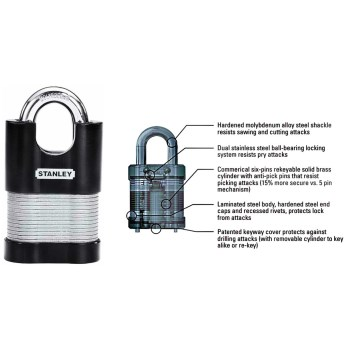 "Stanley 24/7 Laminated # CD8823 Shrouded Padlock ~  4.47"" H x 1.97"" W x 1.15"" D"