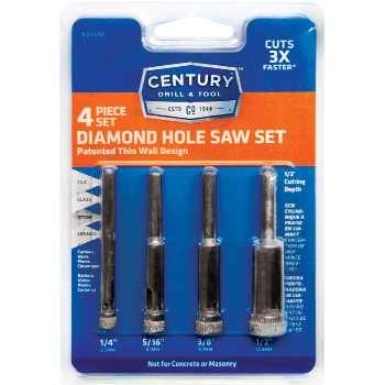 4pc Diamond Holesaw Set