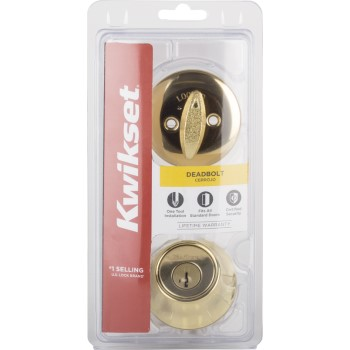 Single Cylinder Deadbolt - Pin and Tumbler, Polished Brass