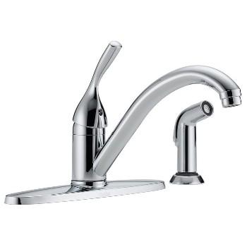 Delta Faucet 400-DST Single Handle Kitchen Faucet w/Spray ~ Chrome Finish
