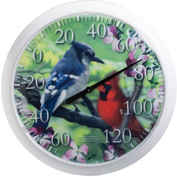 "Thermometer ~ Coil Type,  13.25""  with Bird Motif"