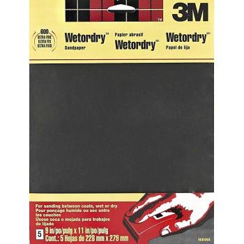 3M 051144090846 Sandpaper, Wet or Dry ~ Ultra Fine 600 Grit