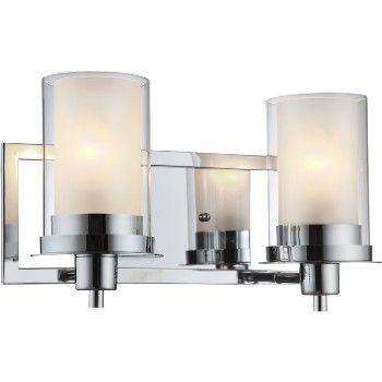 "Chrome Wall Fixture, Two Light ~ 14 1/2""w x 8 1/4""h"